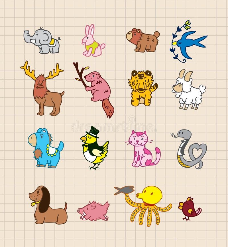 djurdrawhand stock illustrationer