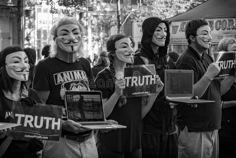 Djurens rättigheter protesterar i San Francisco - Maj 2018 royaltyfri fotografi
