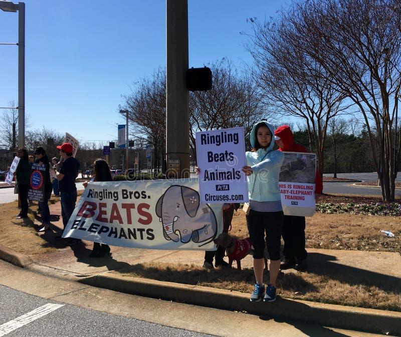 Djurens rättigheterpersoner som protesterar arkivbild