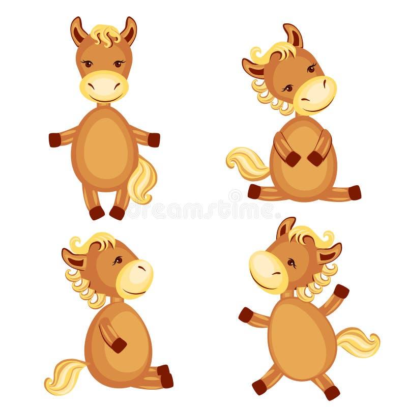 Djuret för tecknade filmen för ungen för hästvektorn poserar det fastställda, det inhemska gulliga fölet som isoleras på vit bakg stock illustrationer