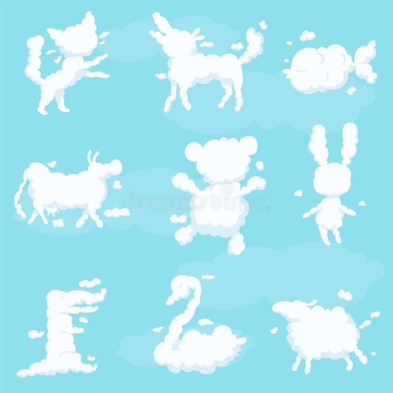 Djuret fördunklar den vita konturuppsättningen, illustrationer för vektor för söta drömmar för ungefantasi vektor illustrationer