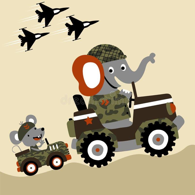 Djuret tjäna som soldat tecknade filmen på den militära bilen vektor illustrationer