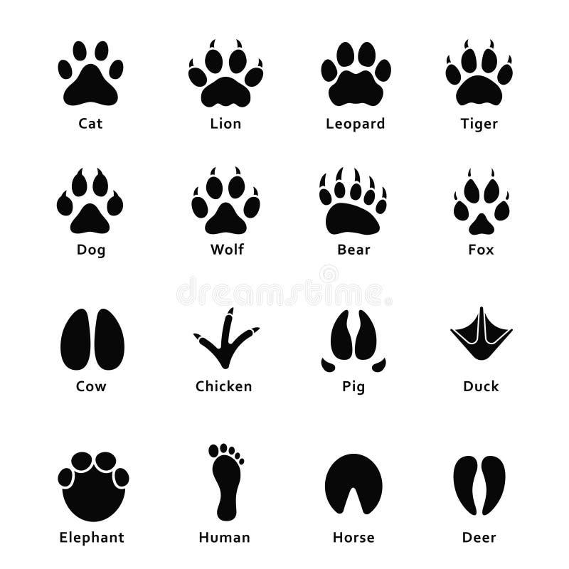 Djurfotspår, tafsar tryck Ställ in av olika djur- och fågelfotspår och spårar stock illustrationer