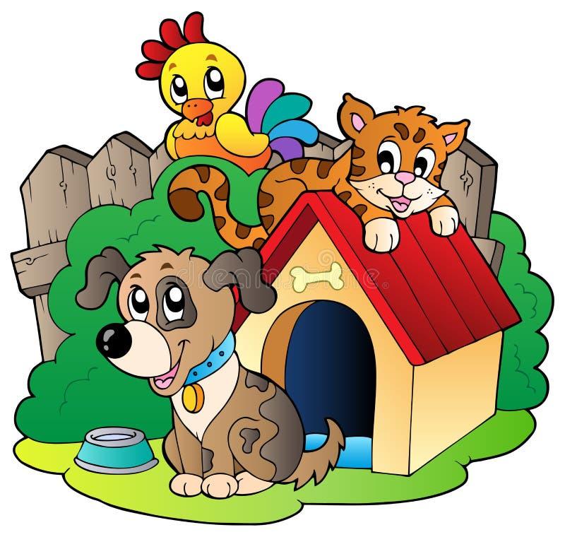 djurhemhjälp tre vektor illustrationer