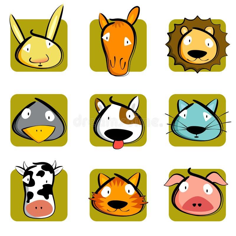 djurhuvud royaltyfri illustrationer
