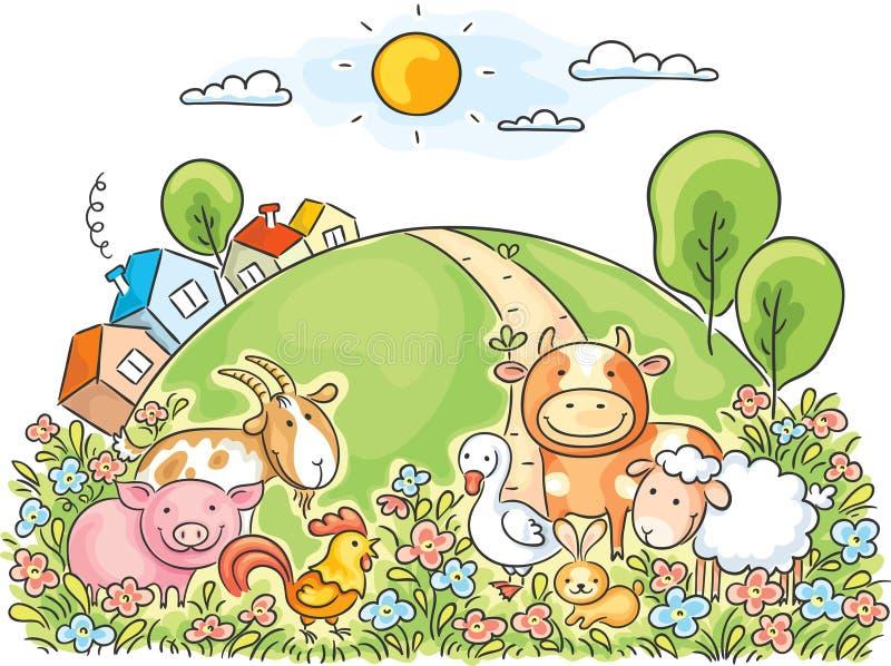 djurlantgårdliggande sommar för många sheeeps royaltyfri illustrationer