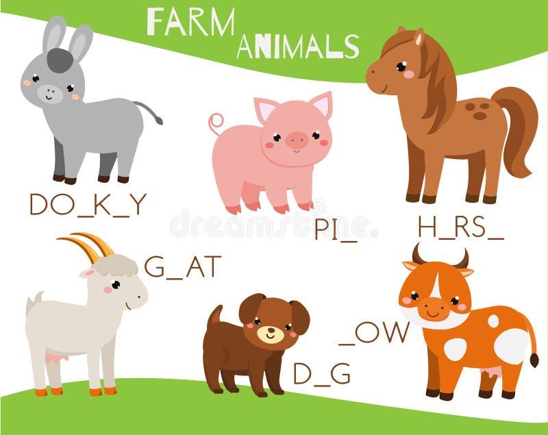 djurlantgårdliggande sommar för många sheeeps Skriv missande brev och färdiga ord Korsord för ungar och små barn Bildande barnlek royaltyfri illustrationer