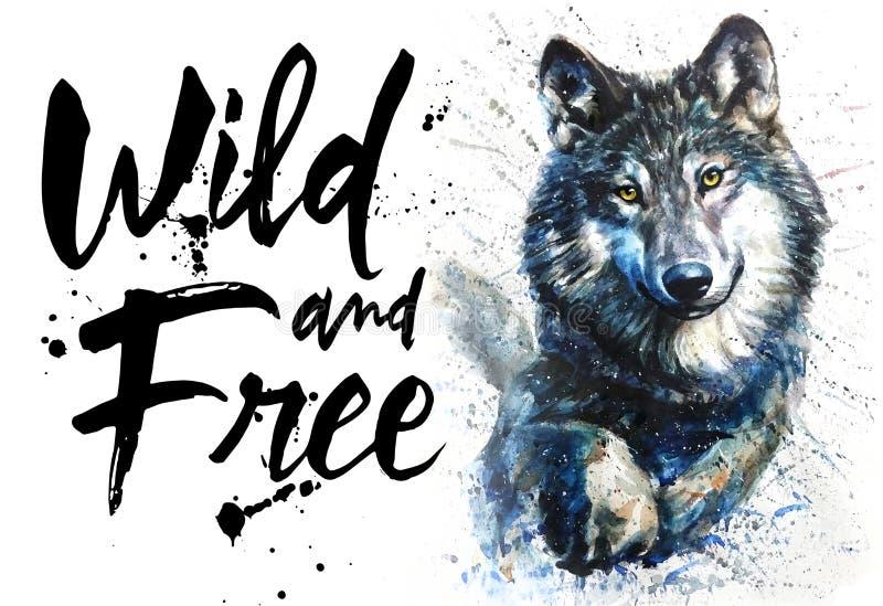 Djurliv för djur för vargvattenfärgen som frigör rovdjurs- är löst och, konungen av skogen, trycket för t-skjorta vektor illustrationer
