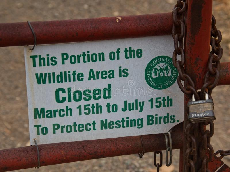 Djurlivområde som stängs för att bygga bo fåglar royaltyfri foto