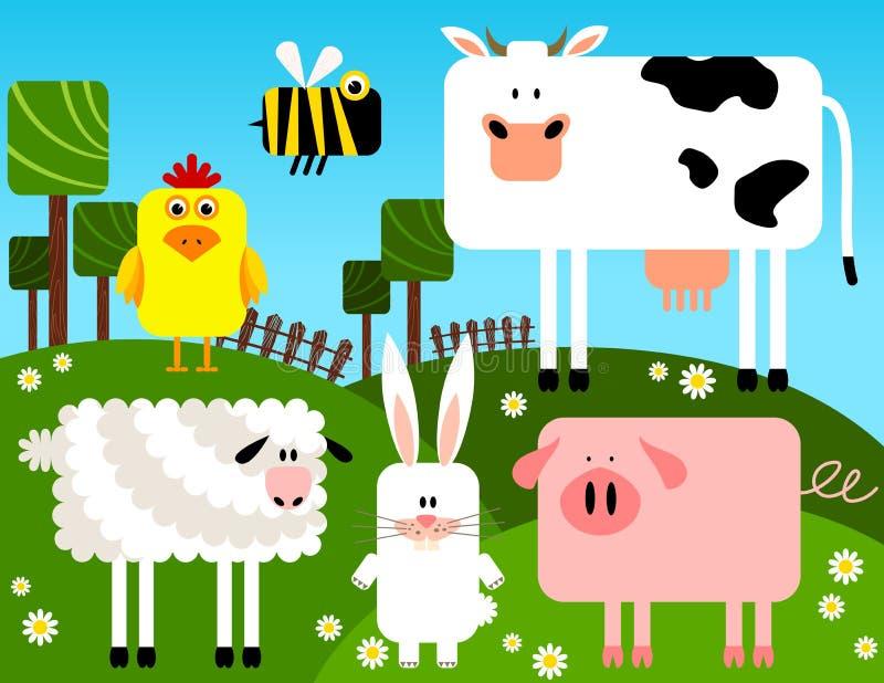djursamlingslantgård vektor illustrationer