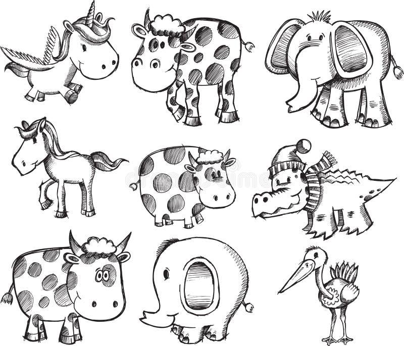 djurseten skissar super royaltyfri illustrationer