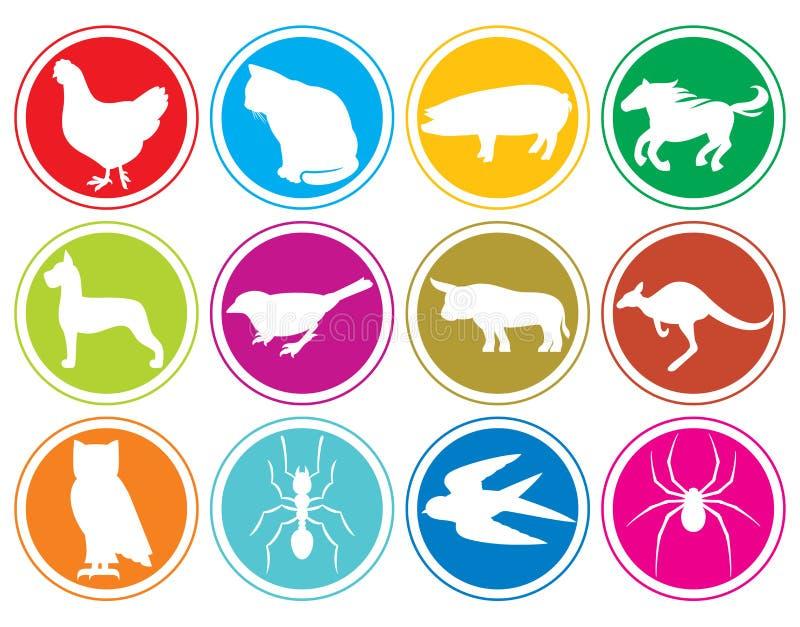 Djursymboler knäppas vektor illustrationer