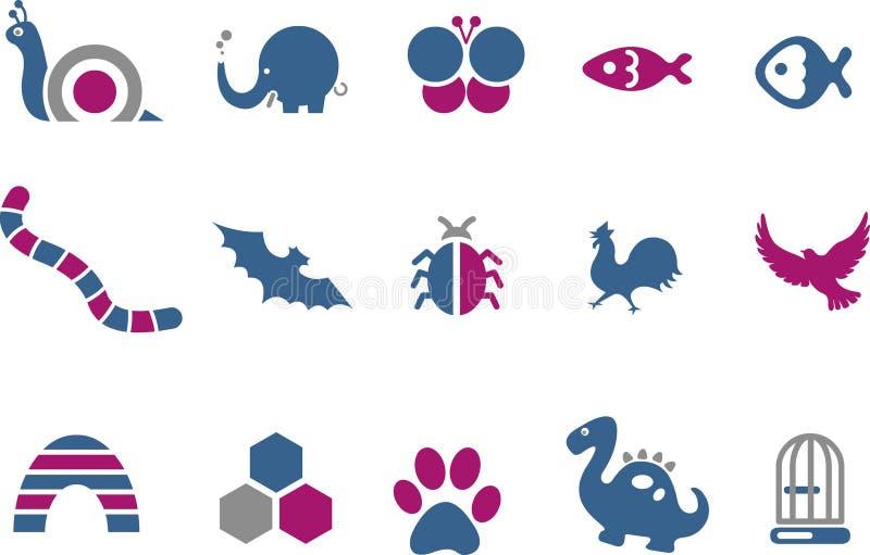 djursymbolsset vektor illustrationer