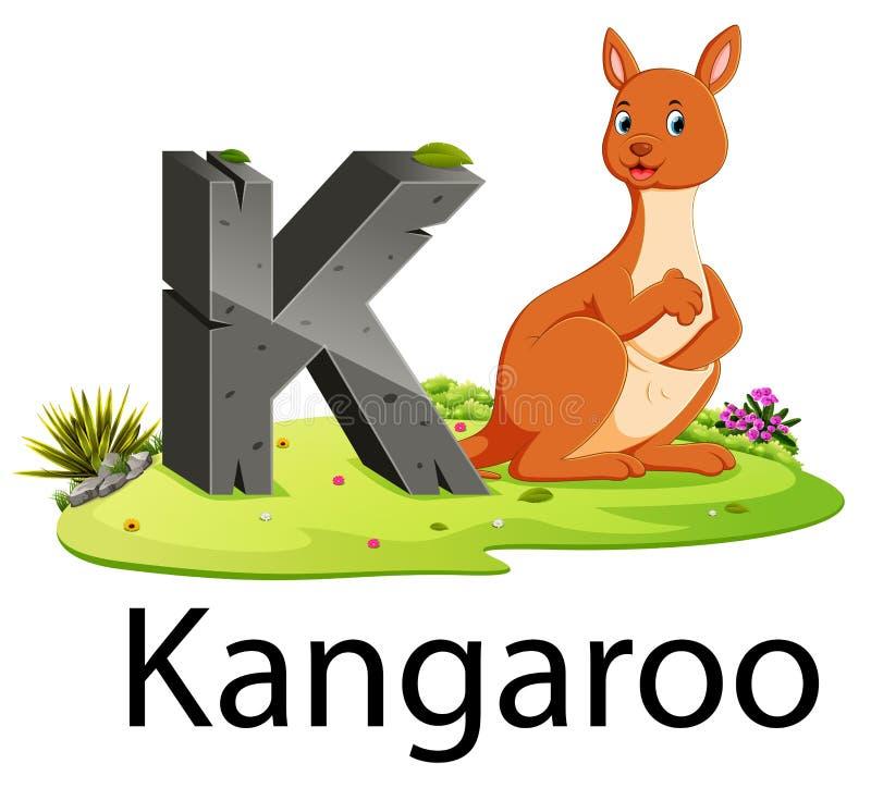 Djurt alfabet K för zoo för känguru med det gulliga djuret royaltyfri illustrationer
