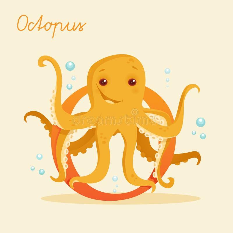 Djurt alfabet med bläckfisken vektor illustrationer
