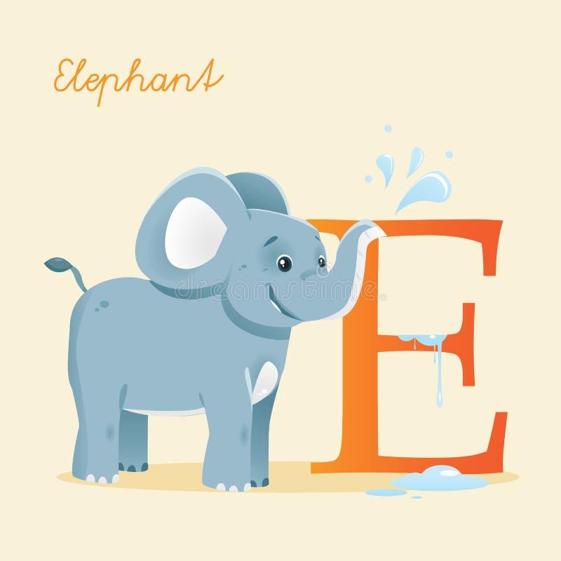 Djurt Alfabet Med Elefanten Royaltyfria Bilder