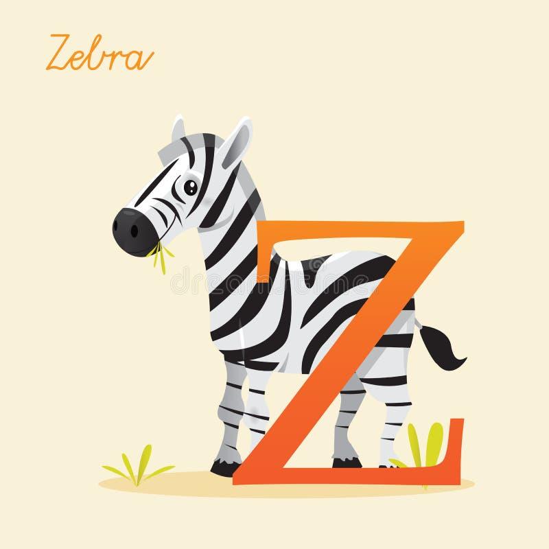 Djurt alfabet med sebran stock illustrationer
