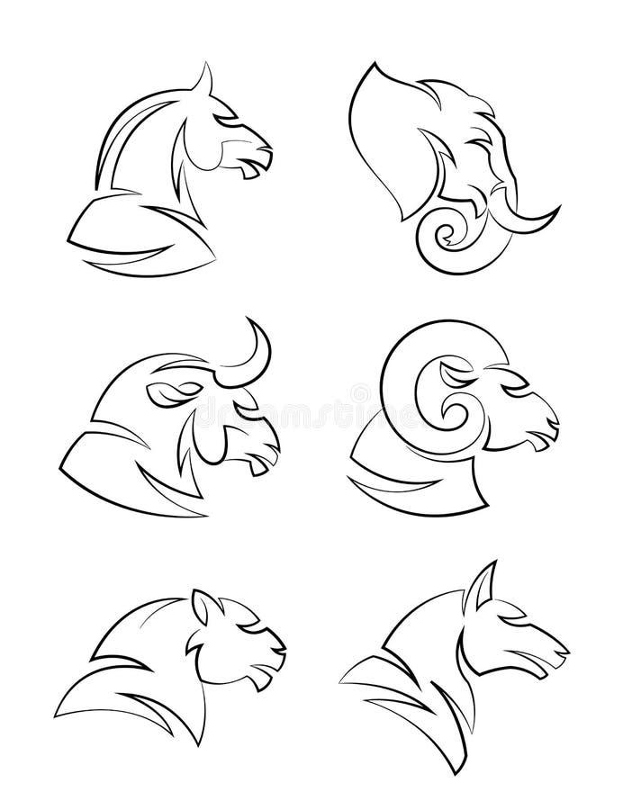 Djurt huvud stock illustrationer