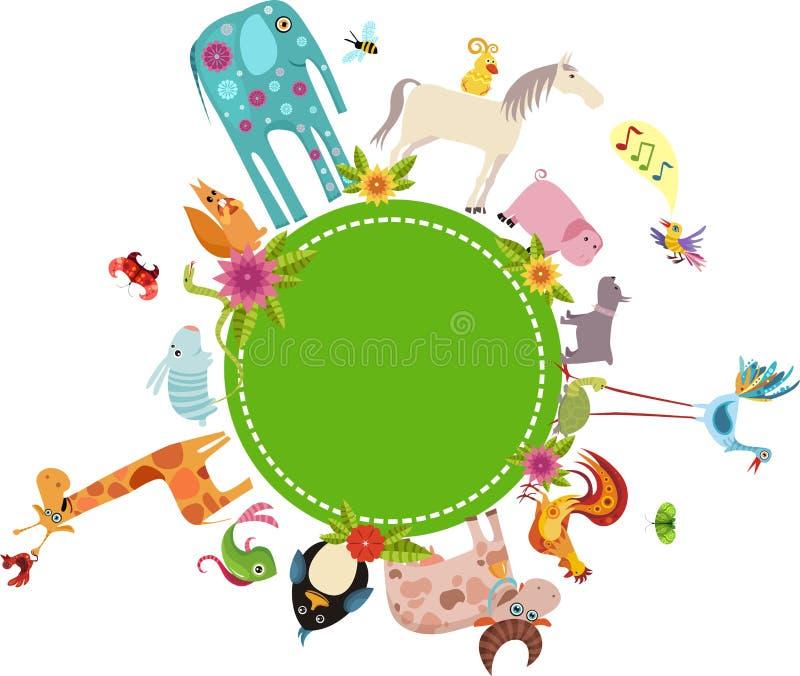 djurt kort vektor illustrationer
