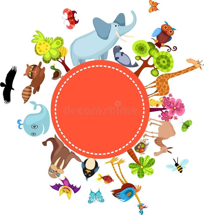 djurt kort stock illustrationer