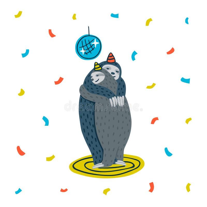 Djurt parti Lat sengångareparti Koppla ihop av sengångare som dansar på ett dansgolv också vektor för coreldrawillustration stock illustrationer