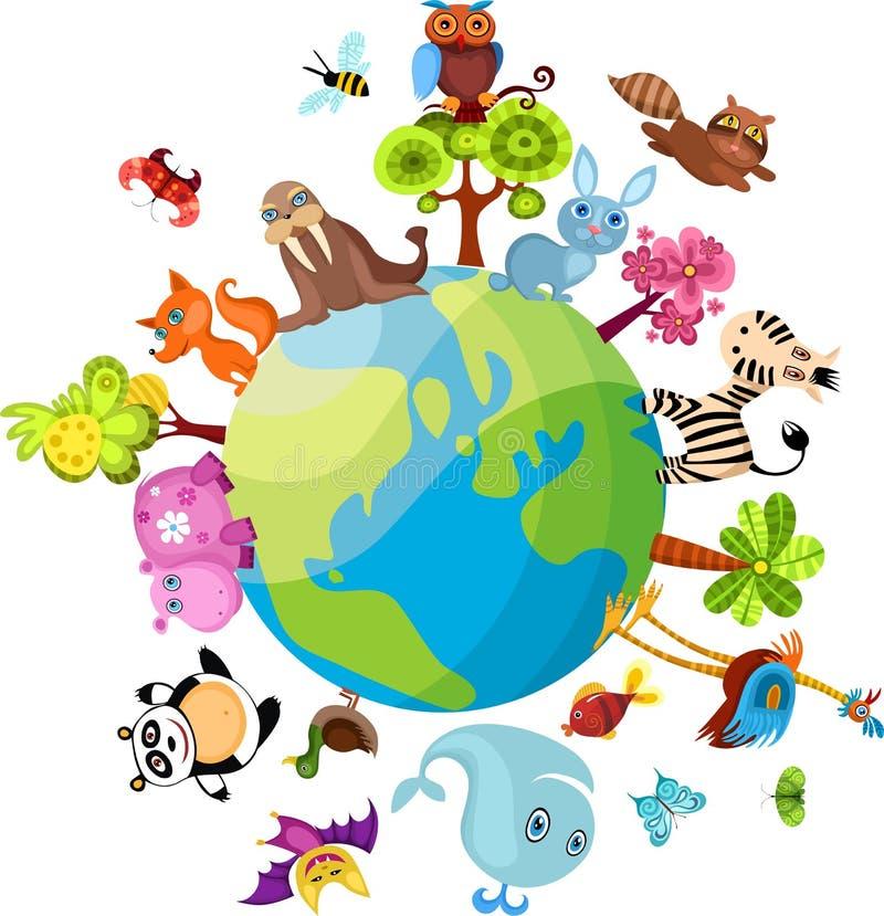 djurt planet royaltyfri illustrationer