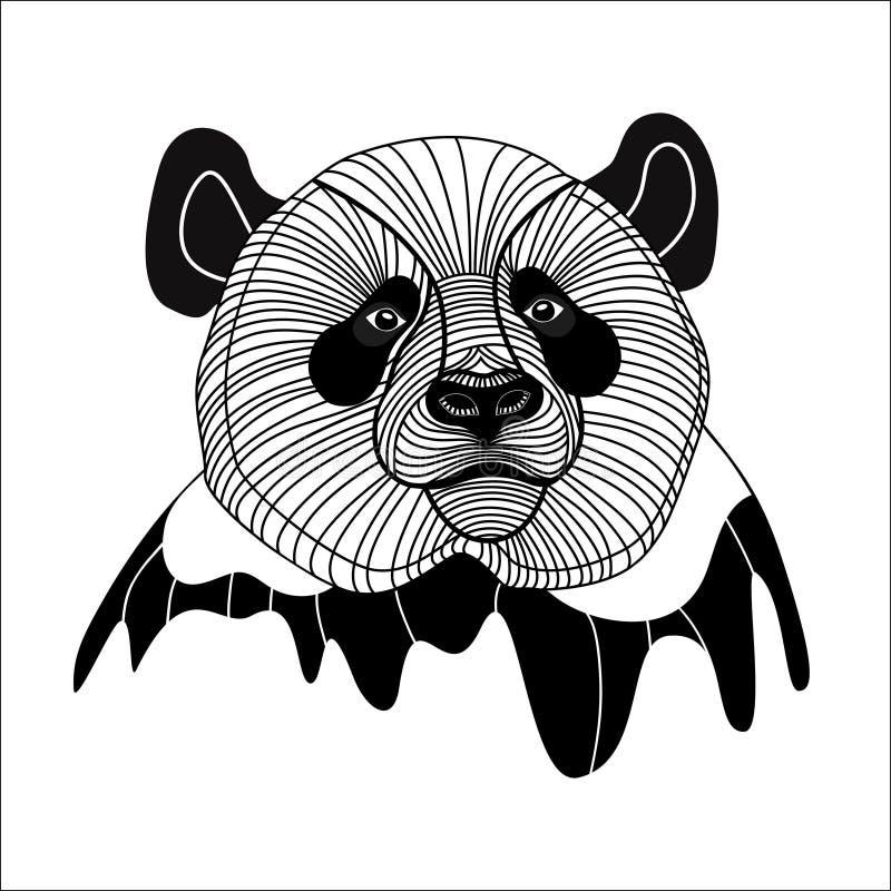 Djurt symbol för björnpandahuvud för maskot- eller emblemdesignen, vektorillustration för t-skjorta. royaltyfri illustrationer