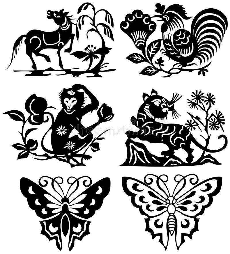 djurtatuering vektor illustrationer
