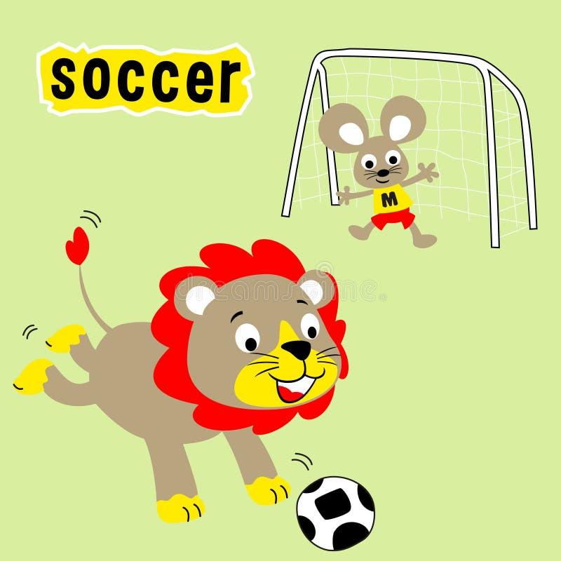 Djurtecknad film som spelar fotboll i fältet stock illustrationer