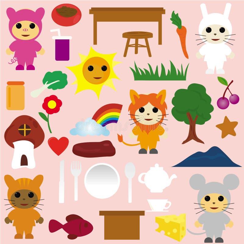 djurtecknad filmsymboler party tea stock illustrationer