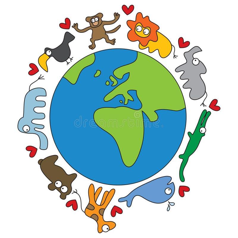 djurvärld royaltyfri illustrationer