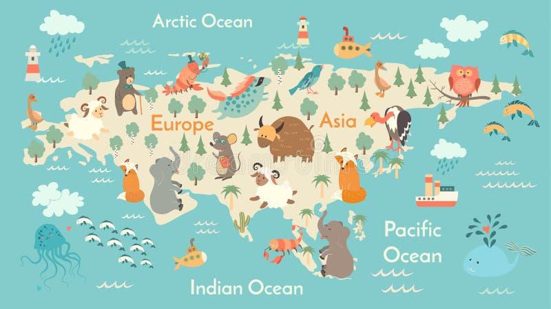 Djurvärldskarta, Eurasia stock illustrationer