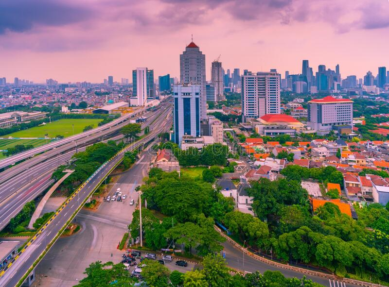 DKI Jakarta City Indonesia at Afternoon Cloudy Sky. The streets in Jakarta City with a cloudy sky around the Tebet Pancoran monument in South Jakarta royalty free stock photo