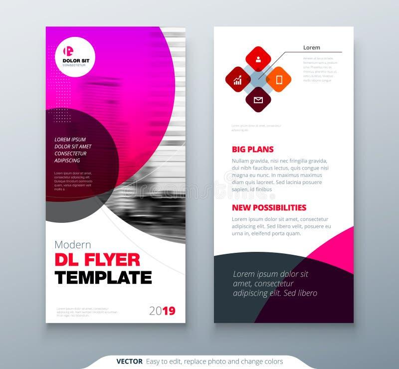 DL飞行物设计 dl飞行物的桃红色企业模板 与现代圈子照片和抽象背景的布局 创造性 向量例证