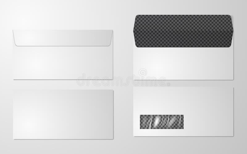DL охватывает взгляд модель-макета передний и задний, иллюстрацию вектора Комплект пустого реалистического модель-макета конверто бесплатная иллюстрация
