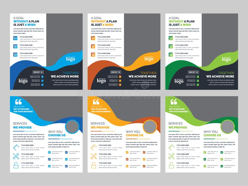 DL Bifold Brochure Template, Business leaf Design royaltyfri illustrationer