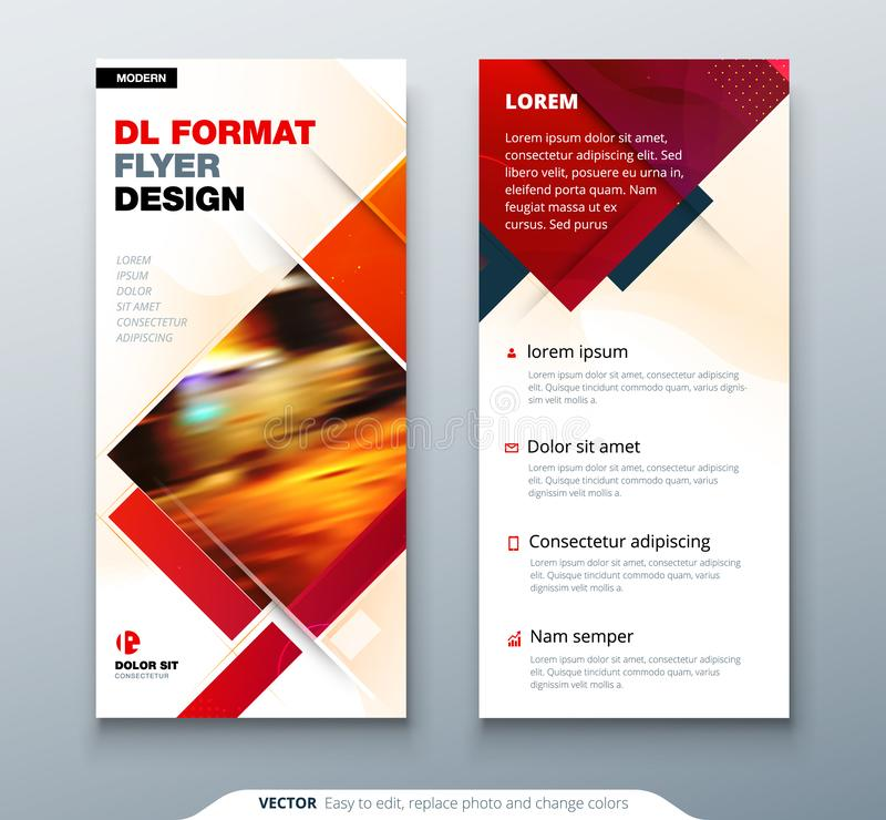 DL Flyer design with square shapes, corporate business template for dl flyer. Creative concept flyer or banner layout. vector illustration