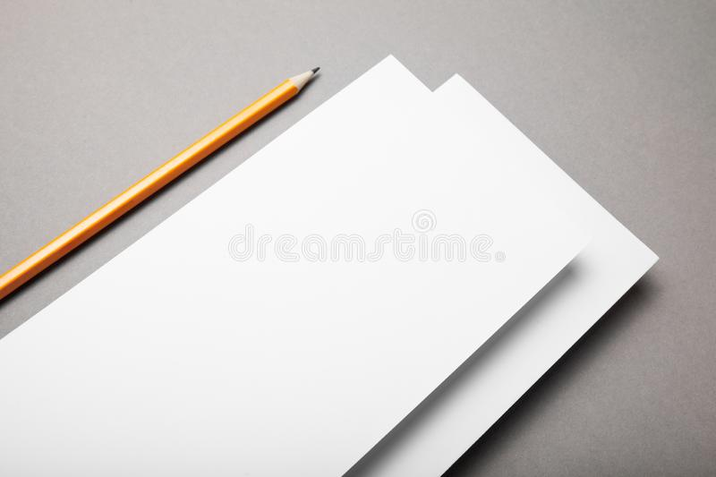 DL flyers on a grey background.  stock photography