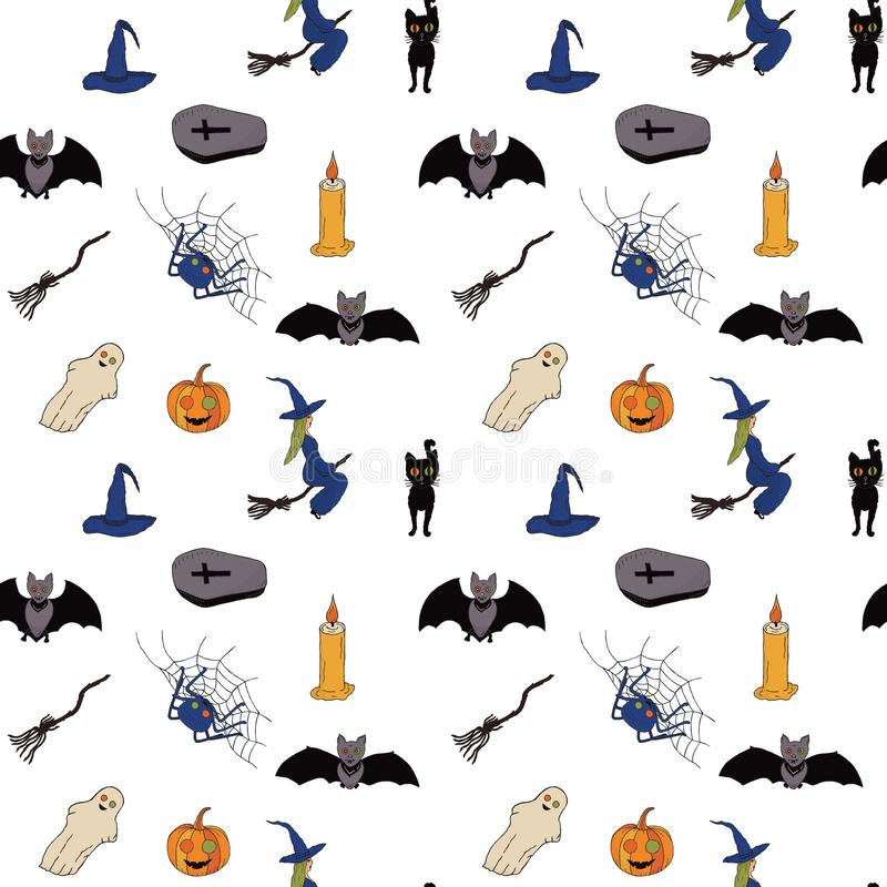 Dla Halloween bezszwowy wzór Biały tło wektor royalty ilustracja