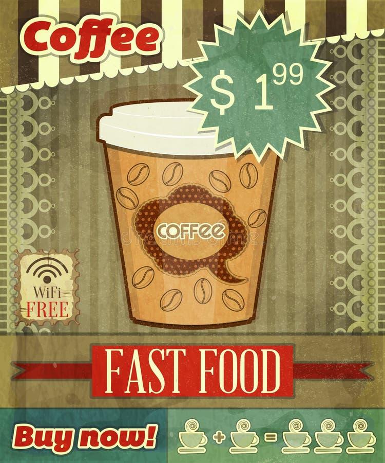 Dla Kawowego Menu rocznik Pokrywa ilustracja wektor