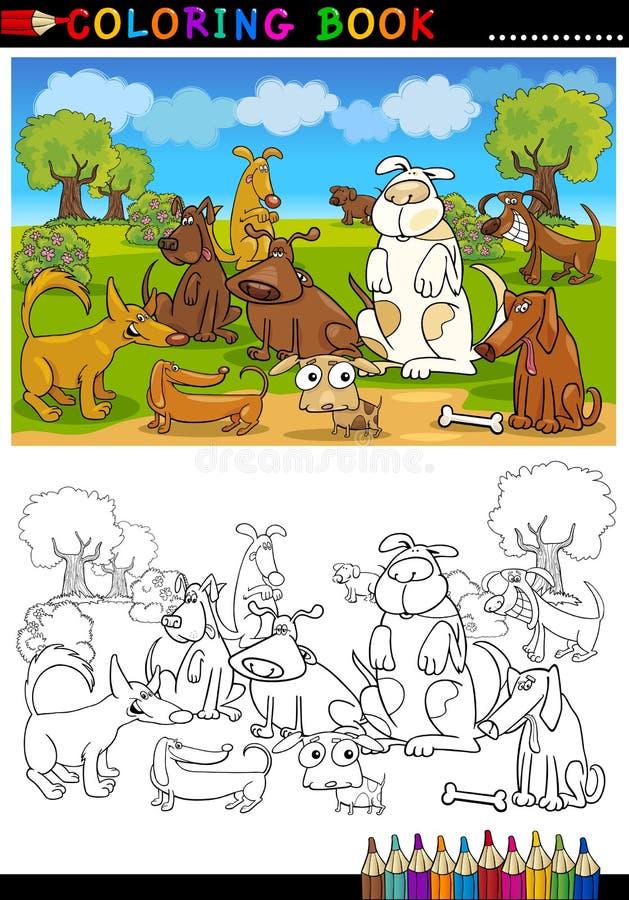 Dla Kolorystyki kreskówka Psy Rezerwują lub Wzywają ilustracji