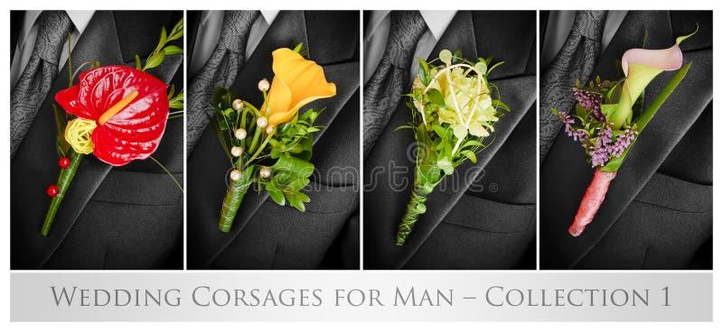 Dla mężczyzna ślubni corsages obraz royalty free
