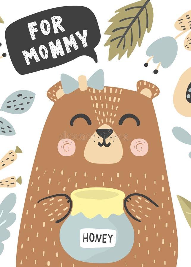 Dla mamusi kartki z pozdrowieniami z ślicznym dziecko niedźwiedziem Listowy wielkościowy format royalty ilustracja