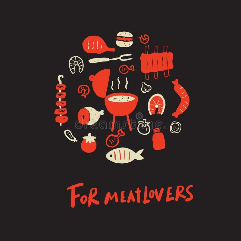 Dla meatlovers Śmieszna inskrypcja i ilustracja różny grilla jedzenie w okręgu Na czarnym tle Robić w wektorze royalty ilustracja