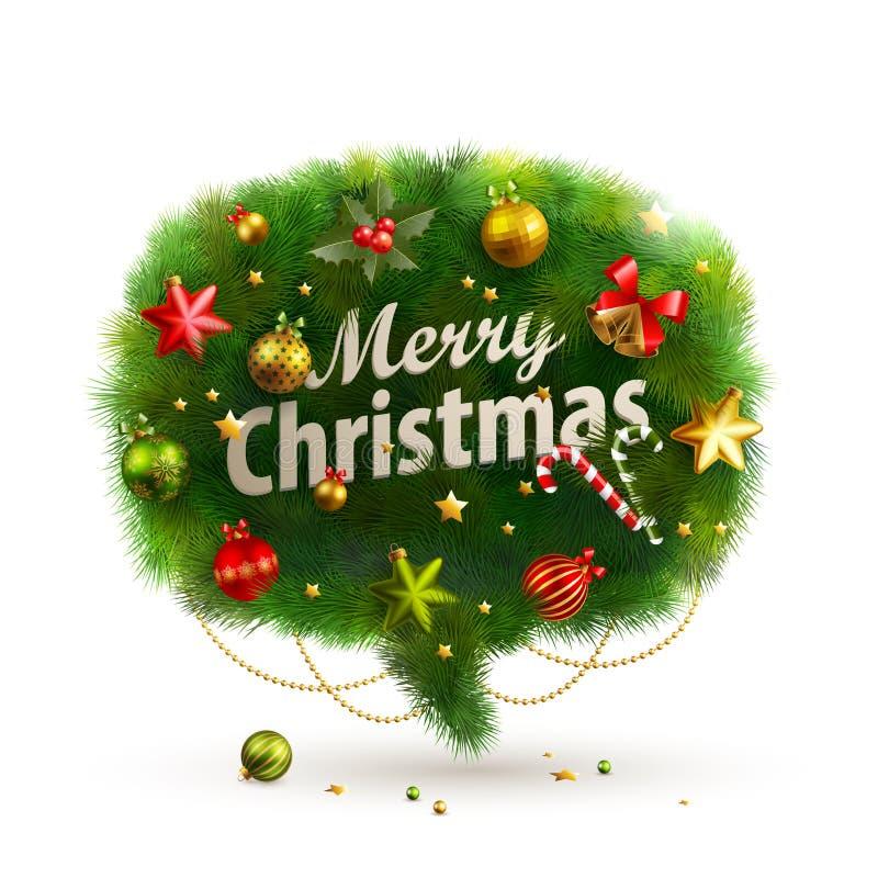 Dla mowy Boże Narodzenie Bąbel - jedlinowy drzewo ilustracji