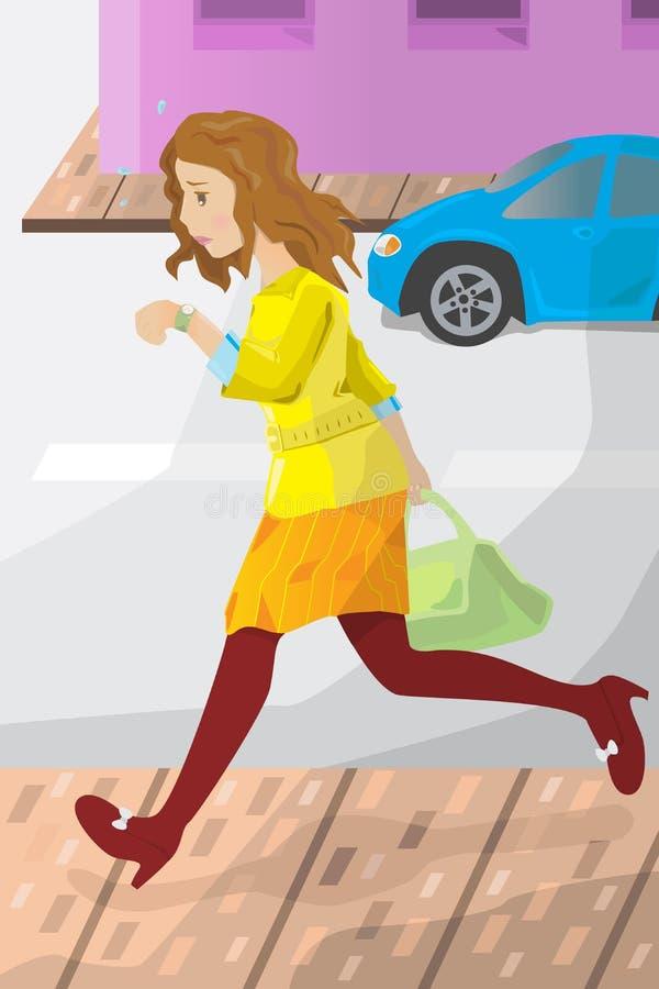 Dla pracy bizneswoman póżno ilustracja wektor