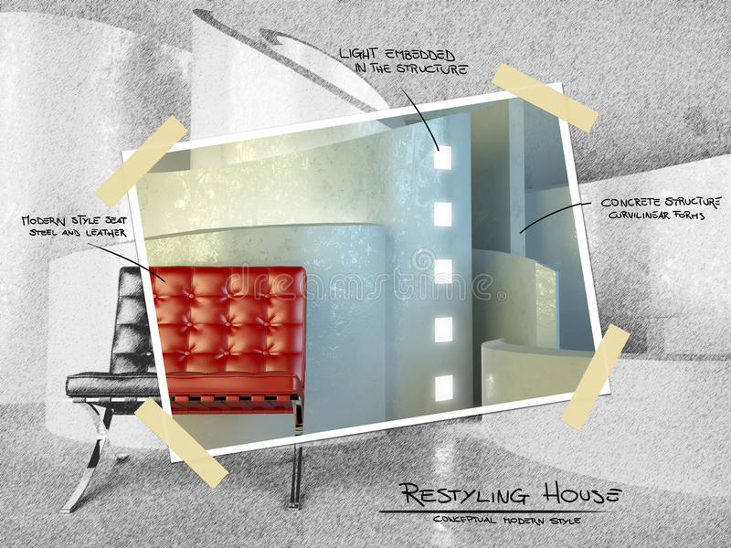 Dla restyling projekta nowożytna architektura ilustracji