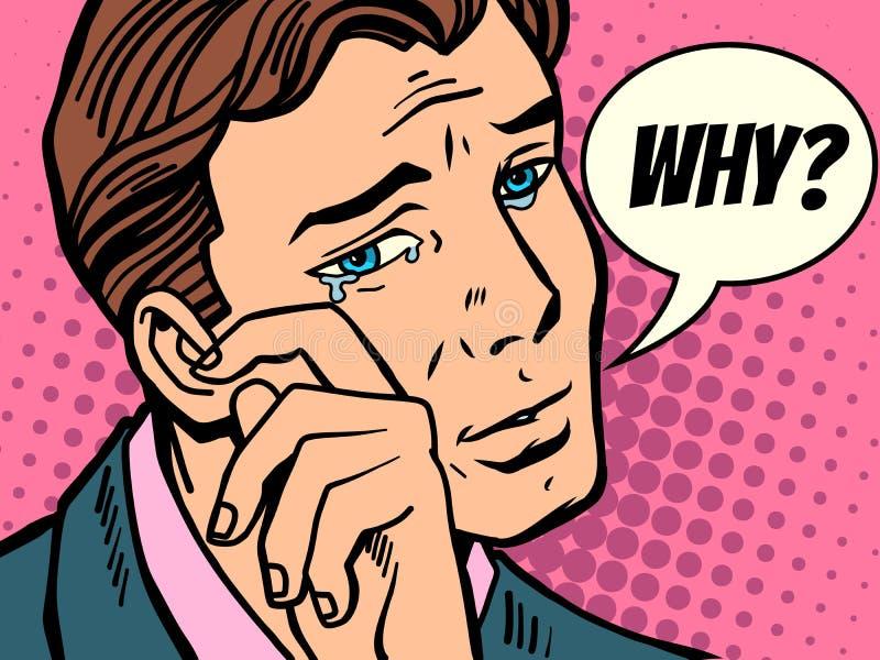 Dlaczego mężczyzna wyciera łzy ilustracji