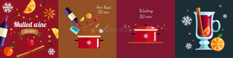 Dlaczego robić Rozmyślającemu winu infographic pojęciu Zima sezonu napoju Gorący przepis wektor ilustracja wektor
