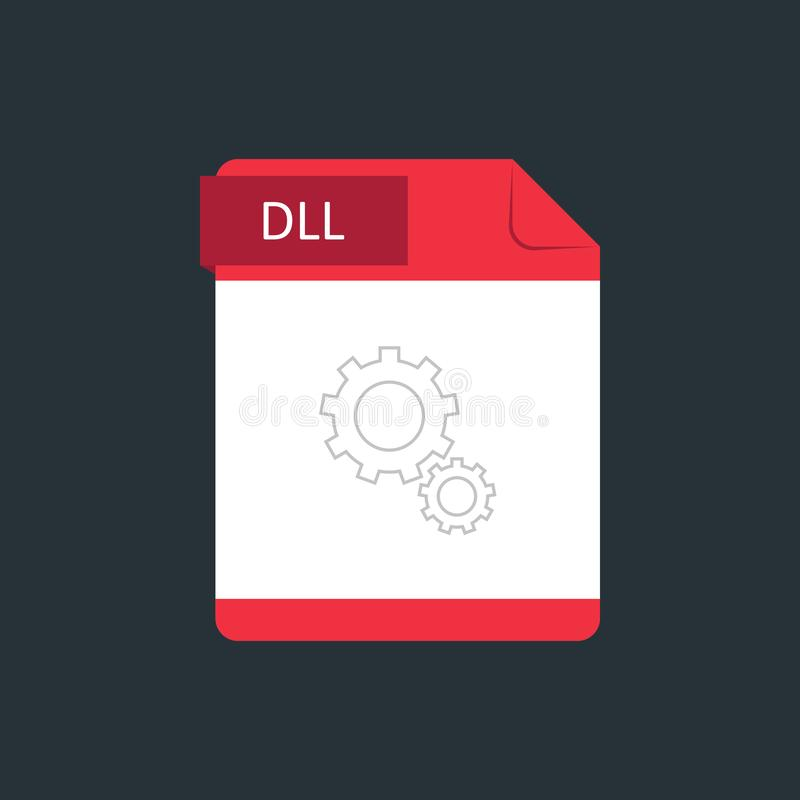 DLL file type icon. Vector illustration isolated on a dark blue background.  vector illustration